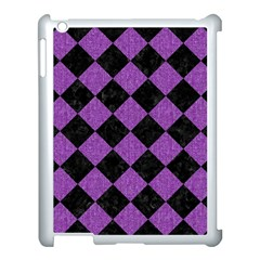 Square2 Black Marble & Purple Denim Apple Ipad 3/4 Case (white) by trendistuff