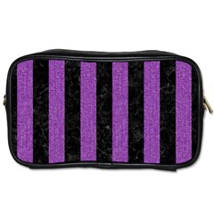 Stripes1 Black Marble & Purple Denim Toiletries Bags 2 Side by trendistuff