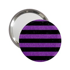Stripes2 Black Marble & Purple Denim 2 25  Handbag Mirrors by trendistuff