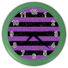Stripes2 Black Marble & Purple Denim Color Wall Clocks by trendistuff