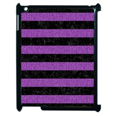 Stripes2 Black Marble & Purple Denim Apple Ipad 2 Case (black) by trendistuff