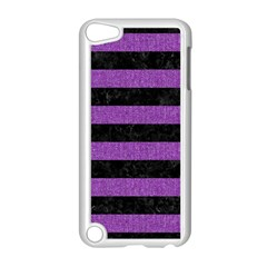 Stripes2 Black Marble & Purple Denim Apple Ipod Touch 5 Case (white) by trendistuff