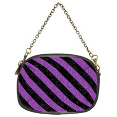 Stripes3 Black Marble & Purple Denim Chain Purses (two Sides)  by trendistuff