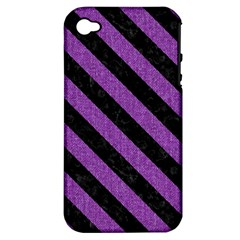 Stripes3 Black Marble & Purple Denim Apple Iphone 4/4s Hardshell Case (pc+silicone) by trendistuff