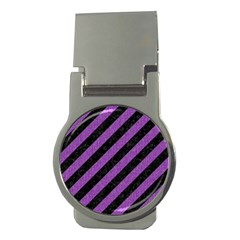 Stripes3 Black Marble & Purple Denim (r) Money Clips (round)  by trendistuff