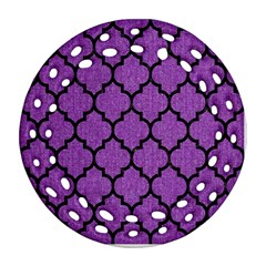 Tile1 Black Marble & Purple Denim Round Filigree Ornament (two Sides) by trendistuff