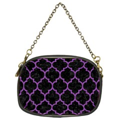 Tile1 Black Marble & Purple Denim (r) Chain Purses (two Sides)  by trendistuff