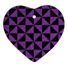 Triangle1 Black Marble & Purple Denim Heart Ornament (two Sides) by trendistuff