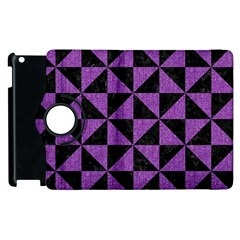 Triangle1 Black Marble & Purple Denim Apple Ipad 2 Flip 360 Case by trendistuff