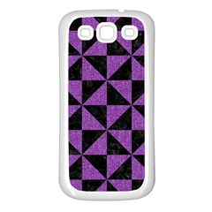 Triangle1 Black Marble & Purple Denim Samsung Galaxy S3 Back Case (white) by trendistuff