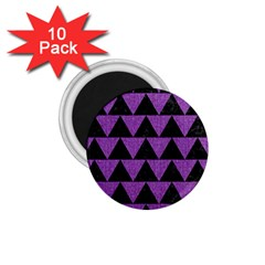 Triangle2 Black Marble & Purple Denim 1 75  Magnets (10 Pack)  by trendistuff