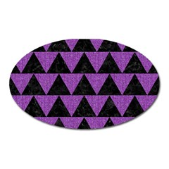 Triangle2 Black Marble & Purple Denim Oval Magnet by trendistuff