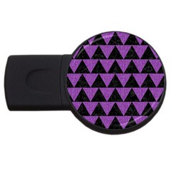 Triangle2 Black Marble & Purple Denim Usb Flash Drive Round (2 Gb) by trendistuff
