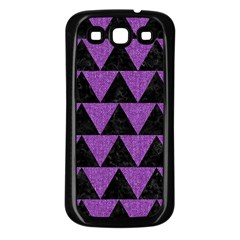 Triangle2 Black Marble & Purple Denim Samsung Galaxy S3 Back Case (black) by trendistuff