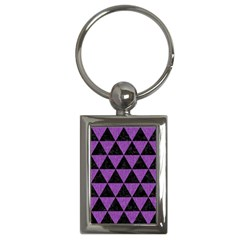 Triangle3 Black Marble & Purple Denim Key Chains (rectangle)  by trendistuff