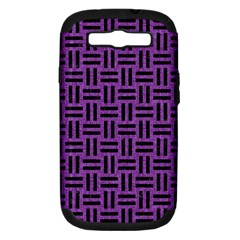 Woven1 Black Marble & Purple Denim Samsung Galaxy S Iii Hardshell Case (pc+silicone) by trendistuff