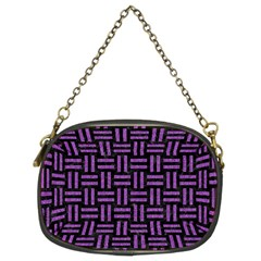 Woven1 Black Marble & Purple Denim (r) Chain Purses (two Sides)  by trendistuff