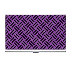 Woven2 Black Marble & Purple Denim Business Card Holders by trendistuff