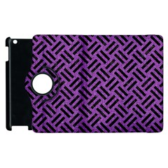 Woven2 Black Marble & Purple Denim Apple Ipad 3/4 Flip 360 Case by trendistuff