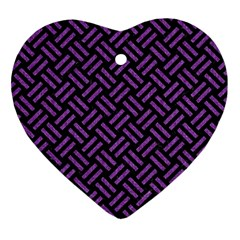 Woven2 Black Marble & Purple Denim (r) Ornament (heart) by trendistuff
