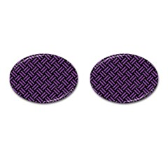 Woven2 Black Marble & Purple Denim (r) Cufflinks (oval) by trendistuff