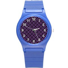 Woven2 Black Marble & Purple Denim (r) Round Plastic Sport Watch (s) by trendistuff