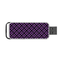 Woven2 Black Marble & Purple Denim (r) Portable Usb Flash (two Sides) by trendistuff