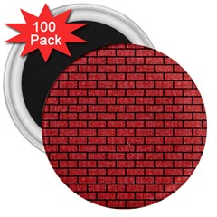 Brick1 Black Marble & Red Denim 3  Magnets (100 Pack) by trendistuff