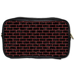 Brick1 Black Marble & Red Denim (r) Toiletries Bags 2 Side by trendistuff