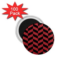 Chevron1 Black Marble & Red Denim 1 75  Magnets (100 Pack)  by trendistuff