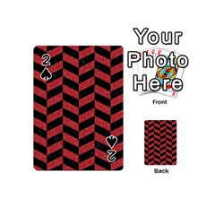 Chevron1 Black Marble & Red Denim Playing Cards 54 (mini)  by trendistuff