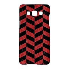Chevron1 Black Marble & Red Denim Samsung Galaxy A5 Hardshell Case  by trendistuff