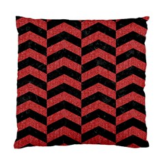 Chevron2 Black Marble & Red Denim Standard Cushion Case (one Side) by trendistuff