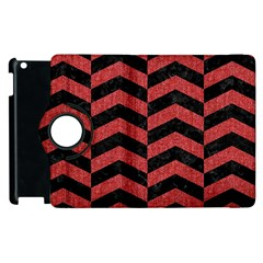 Chevron2 Black Marble & Red Denim Apple Ipad 3/4 Flip 360 Case by trendistuff