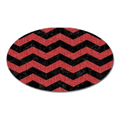 Chevron3 Black Marble & Red Denim Oval Magnet by trendistuff