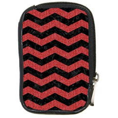 Chevron3 Black Marble & Red Denim Compact Camera Cases by trendistuff