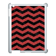 Chevron3 Black Marble & Red Denim Apple Ipad 3/4 Case (white) by trendistuff