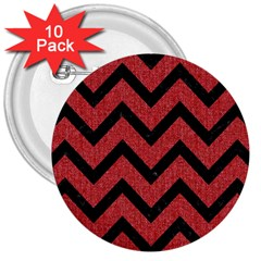 Chevron9 Black Marble & Red Denim 3  Buttons (10 Pack)  by trendistuff
