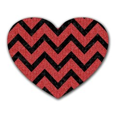 Chevron9 Black Marble & Red Denim Heart Mousepads by trendistuff