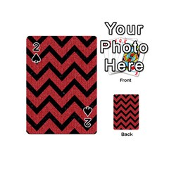 Chevron9 Black Marble & Red Denim Playing Cards 54 (mini)  by trendistuff