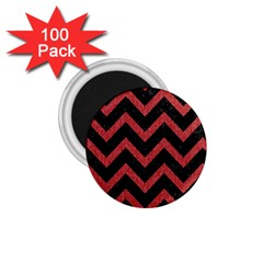 Chevron9 Black Marble & Red Denim (r) 1 75  Magnets (100 Pack)  by trendistuff
