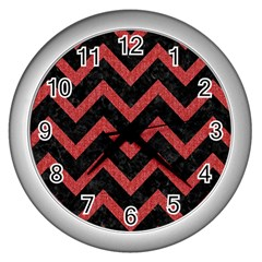 Chevron9 Black Marble & Red Denim (r) Wall Clocks (silver)  by trendistuff