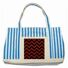 Chevron9 Black Marble & Red Denim (r) Striped Blue Tote Bag by trendistuff