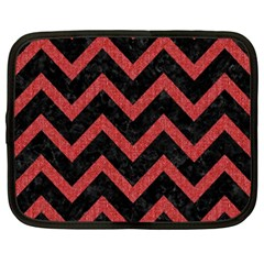 Chevron9 Black Marble & Red Denim (r) Netbook Case (xxl)  by trendistuff