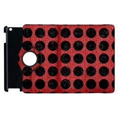Circles1 Black Marble & Red Denim Apple Ipad 2 Flip 360 Case by trendistuff