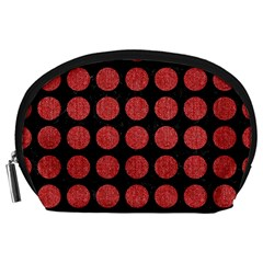 Circles1 Black Marble & Red Denim (r) Accessory Pouches (large)  by trendistuff