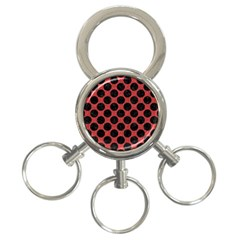 Circles2 Black Marble & Red Denim 3 Ring Key Chains by trendistuff