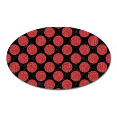 Circles2 Black Marble & Red Denim (r) Oval Magnet by trendistuff