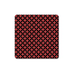 Circles3 Black Marble & Red Denim Square Magnet by trendistuff
