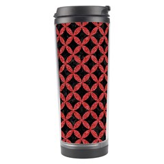 Circles3 Black Marble & Red Denim (r) Travel Tumbler by trendistuff